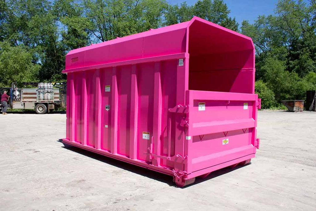 Pink chipper with removable roof and single side swing door