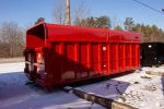 Red chipper with barn doors