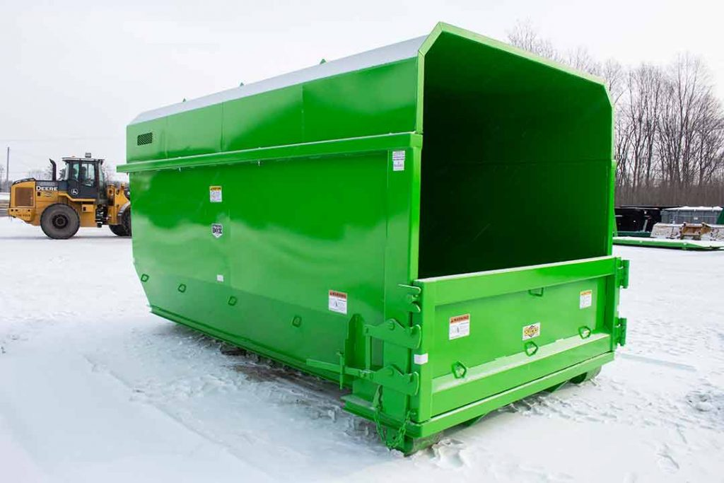 Green tub style chipper rolloff container with side swing tailgate
