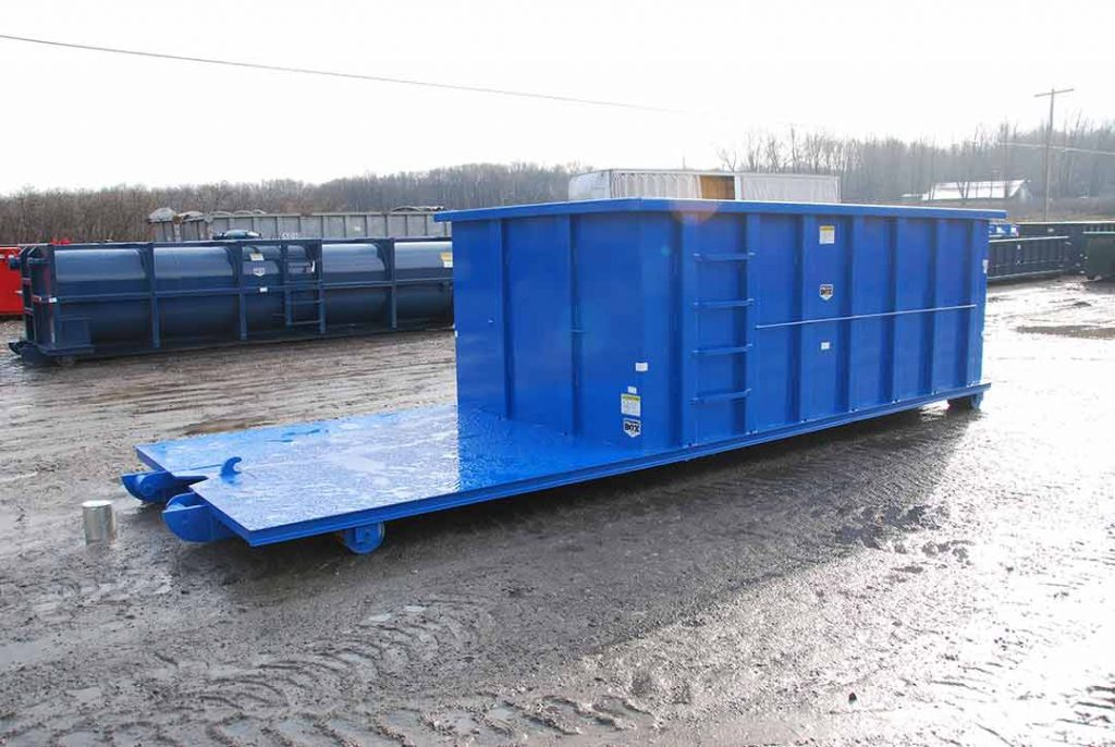 Blue Custom Box rolloff container with strong box and flatbed, cable style hookup