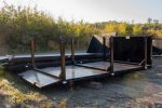 Custom Box Flatbed rolloff container with beavertail and permanent side posts with D-Rings on each post