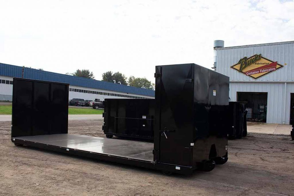 Custom Box flatbed roll-off container with double bulkhead, one bulkhead with toolbox, and cable style hookup