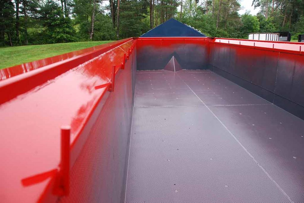 Red Dewatering roll-off container with Liner Hooks