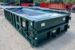 green dewatering roll-off container with epoxy coating dewatering basket and side roll tarp system