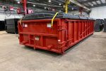 Dewatering container with full pivoting lid system