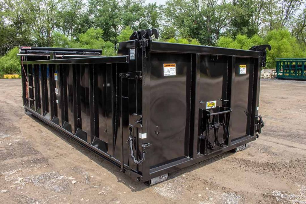 black dump body roll-off container with single coal chute, dump single swing style tailgate, and pull tarp system