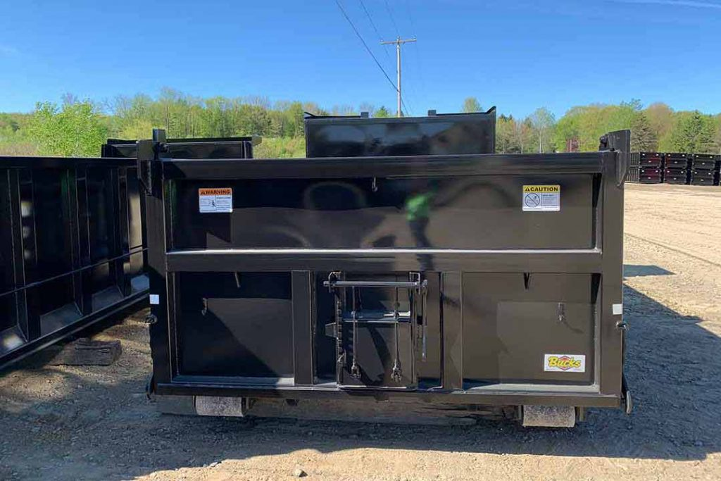 black dump body roll-off container with single coal chute, dump style tailgate