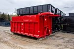 Custom Box Dump Body roll-off container with cab shield, removable steel sides, hooklift and ladder