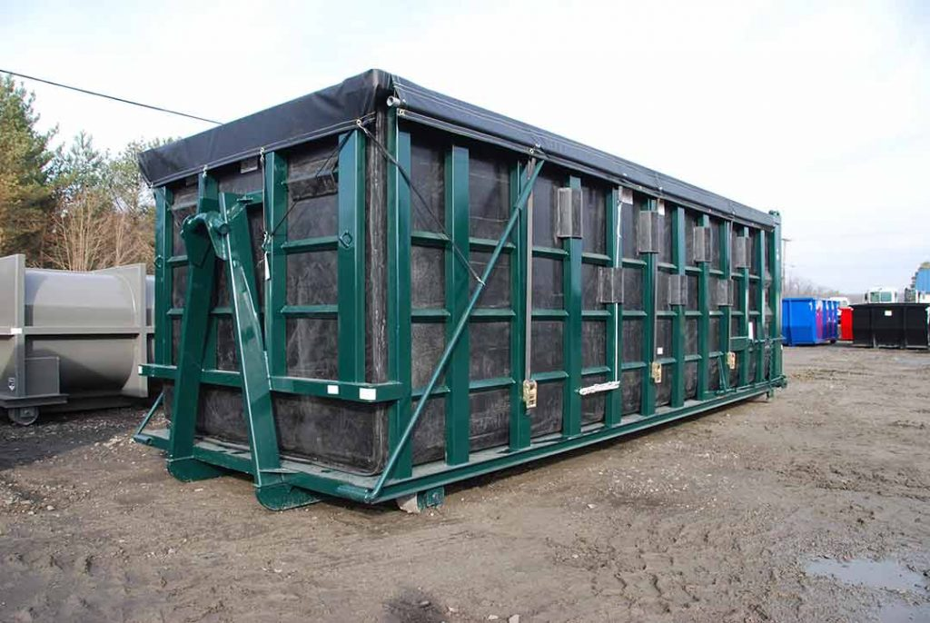 "Green Poly Box rolloff container with a side roll tarpsystem and 62"" hooklift"