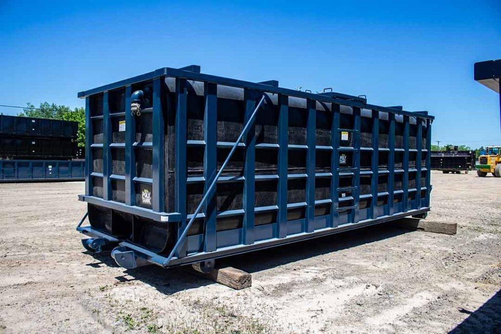 Blue Poly Tank rolloff container with walkway, crossmembers on top, and cable hookup