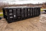 Black Poly Box rolloff container with side roll tarp system