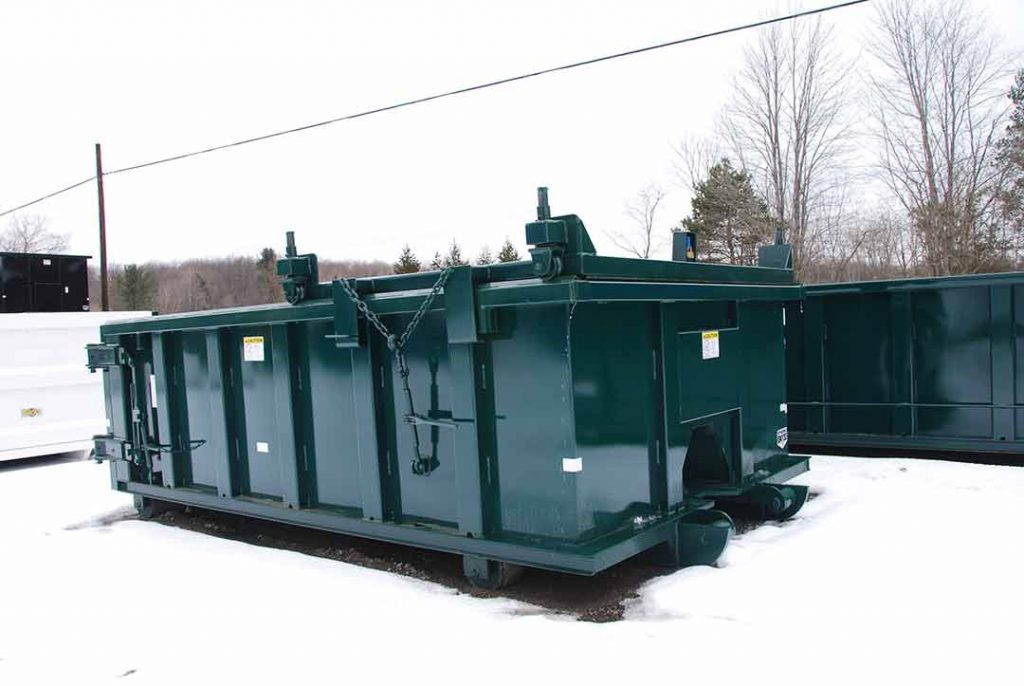 single rolling roof roll-off container