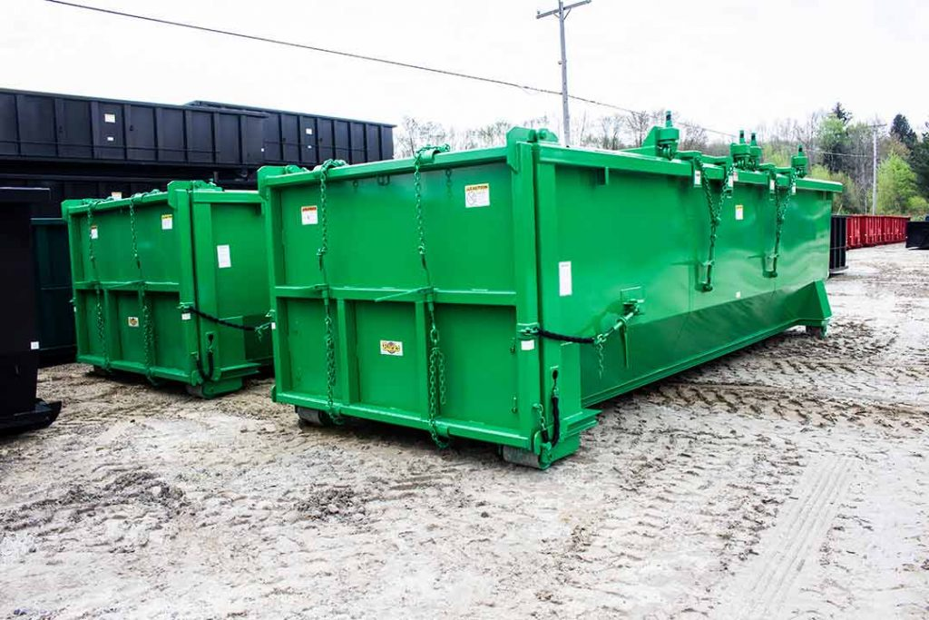 two double rolling roof tub style container in green
