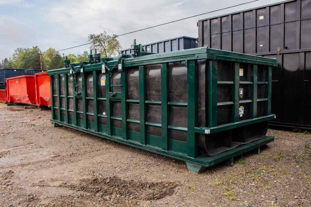 green double rolling roof on a Poly Box roll-off container