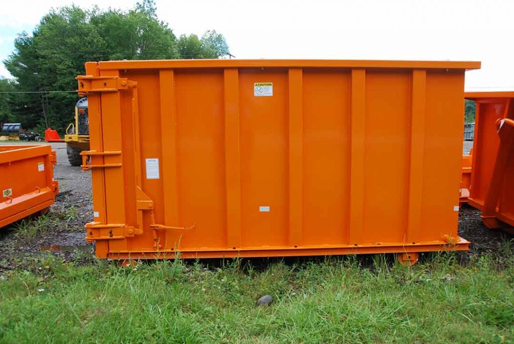 Orange sealed style roll off container in a custom size with cable style hookup