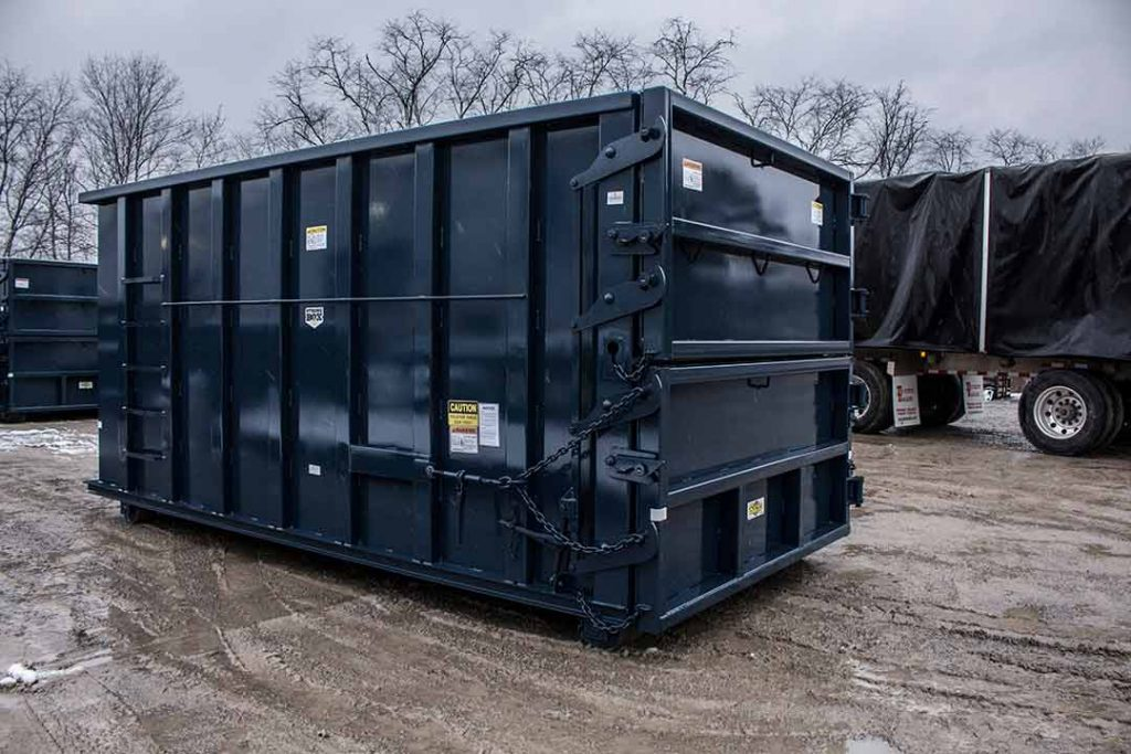 Blue sealed style rolloff container with double side swing tailgates