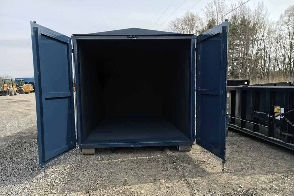 Blue security style rolloff container with open doors
