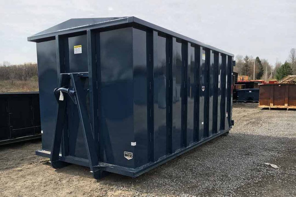 Blue security style rolloff container with hooklift hookup and security style doors