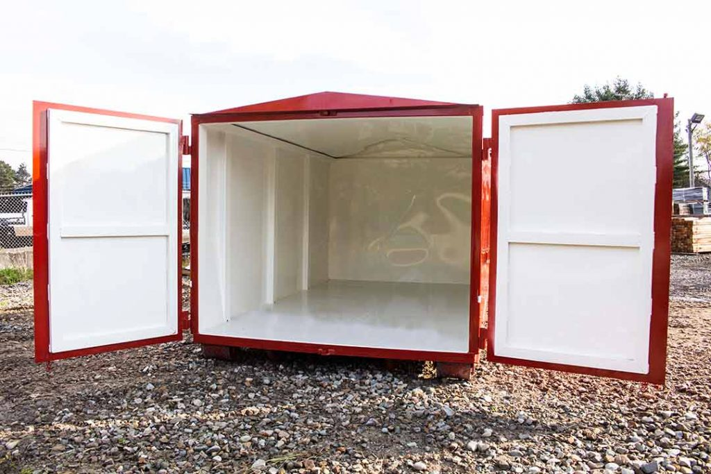 Red security style rolloff container with open security style doors that open to a white interior with interior side posts