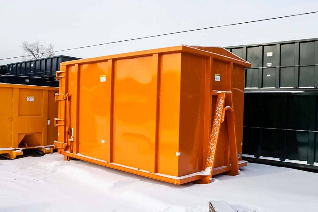 Orange security style rolloff container with hooklift hookup and single side swing tailgate