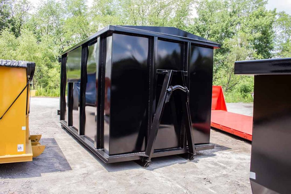 Black security style rolloff container with hooklift hookup, security style doors, sign plates, and full welds