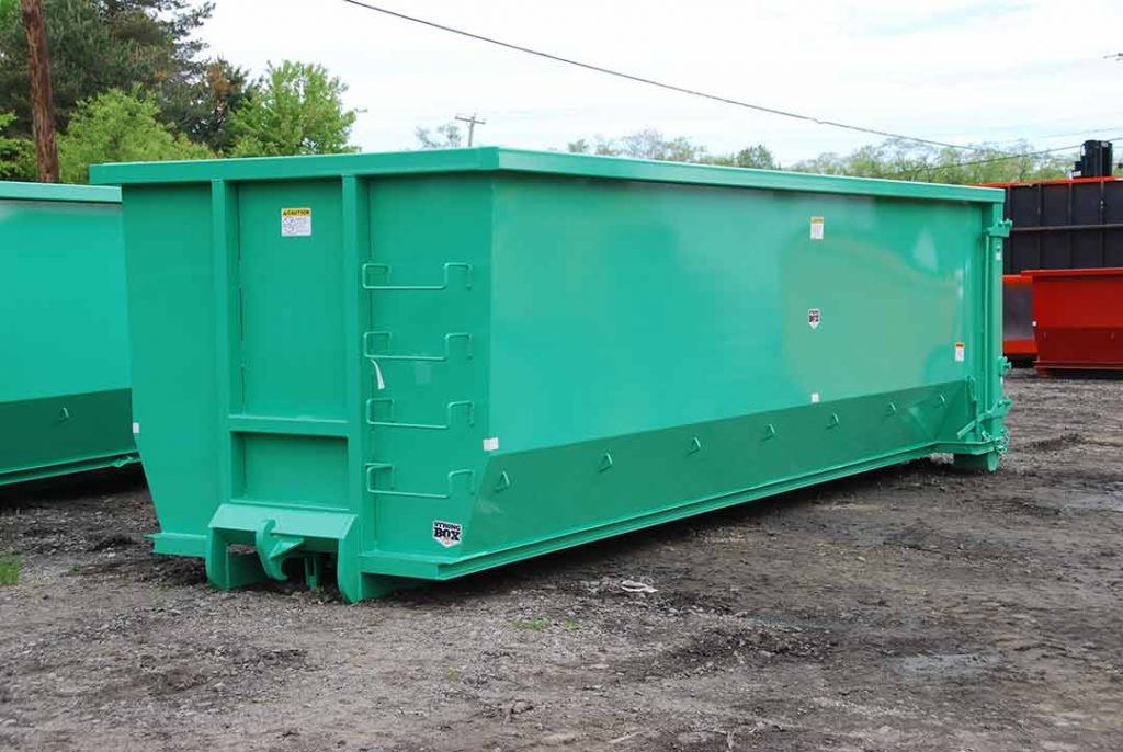 Green Strong Box Tub Style rolloff container with dino hookup and ladder on bulkhead