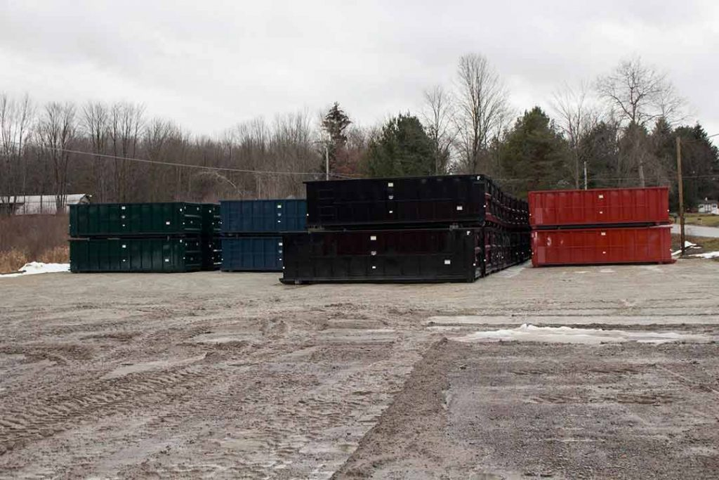 Standard 30yd Strong Box rolloff containers in the yard for stock