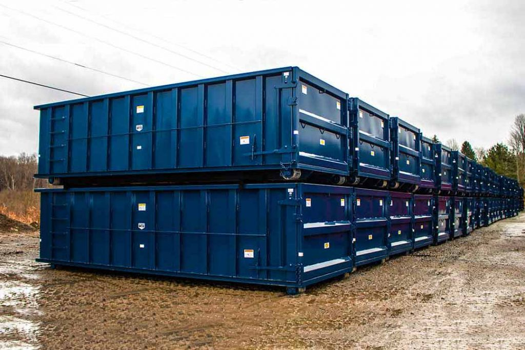 Blue Strong Box rolloff containers with single side swing tailgate and cable hookup