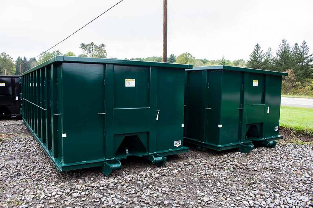 30YD green Strong Box rolloff containers with cable style hookups