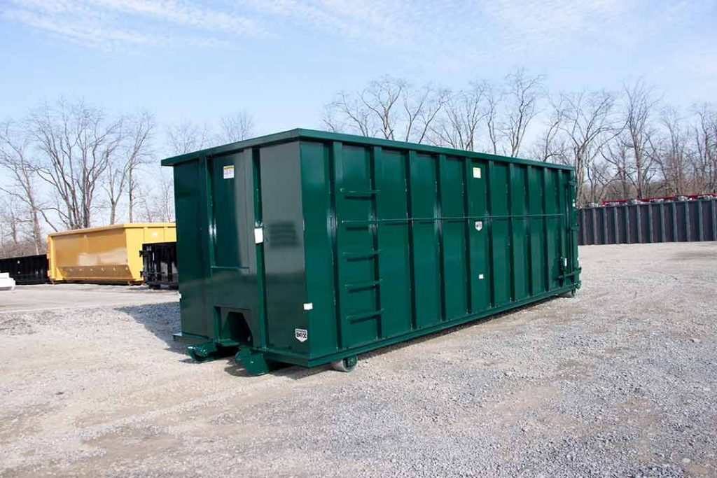 40YD Green Strong Box rolloff container with single side swing gate and cable style hookup