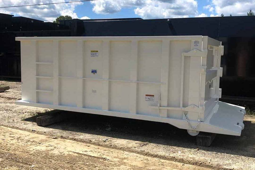 White Tough Box rolloff container with hooklift hookup and exposed beavertail