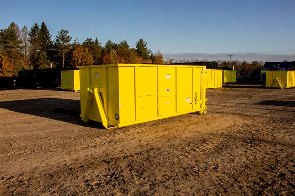 "Yellow Tough Box rolloff container with 36"" hooklift hookup and single side swing tailgate"