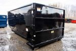 Black Tough Box tub style rolloff container with light duty side swing tailgate