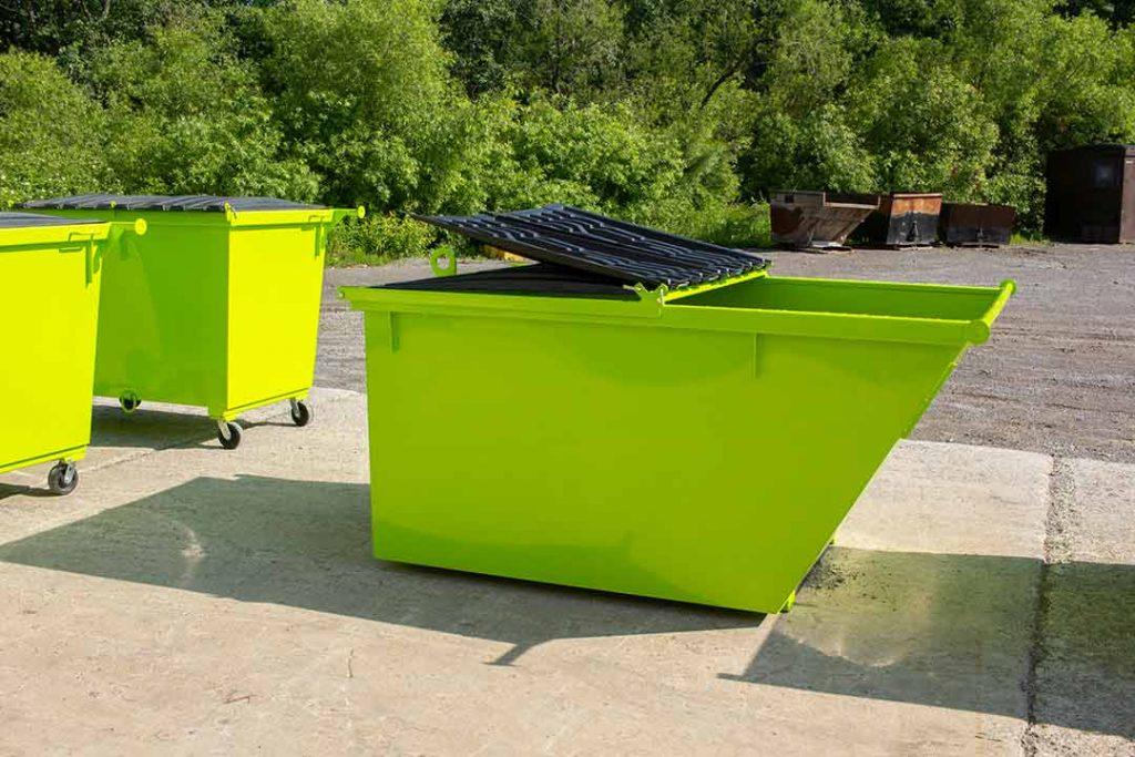 Lime green 4YD Trash Box rear load small can container with front lids open