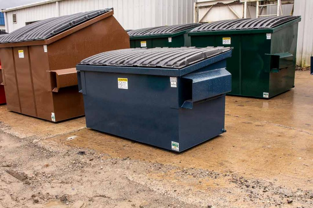 Blue 2YD Trash Box front load small can container curing from paint with lids, fork pockets, and drain plug