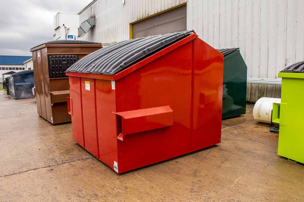 Red 6YD Trash Box front load slant lid small can container with fork pockets, drain plug, and lids