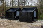 Black 8YD Trash Box front load small can containers with side door, fork pockets, and no lids