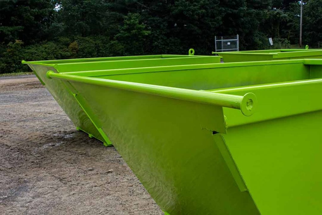 Lime green 6YD Trash Box rear load small can containers with trunnion bars