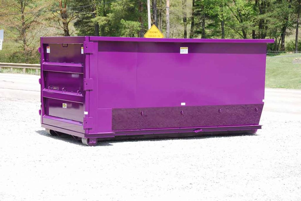 Purple tub style rolloff container with single side swing tailgate and hooklift hookup