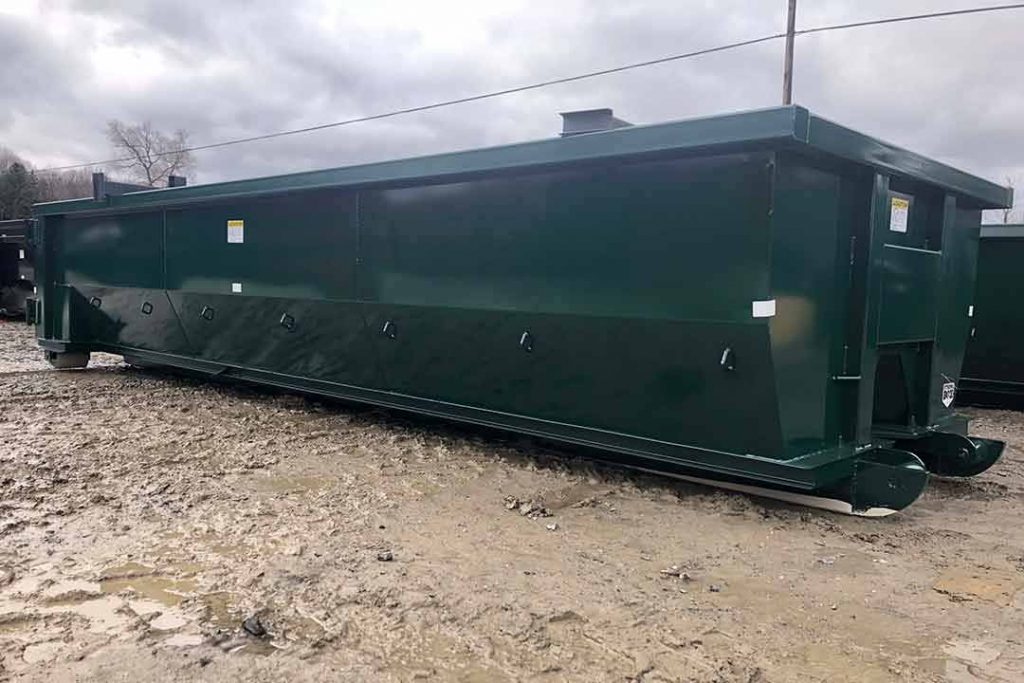 Green tub style rolloff container with single side swing tailgate and cable hookup
