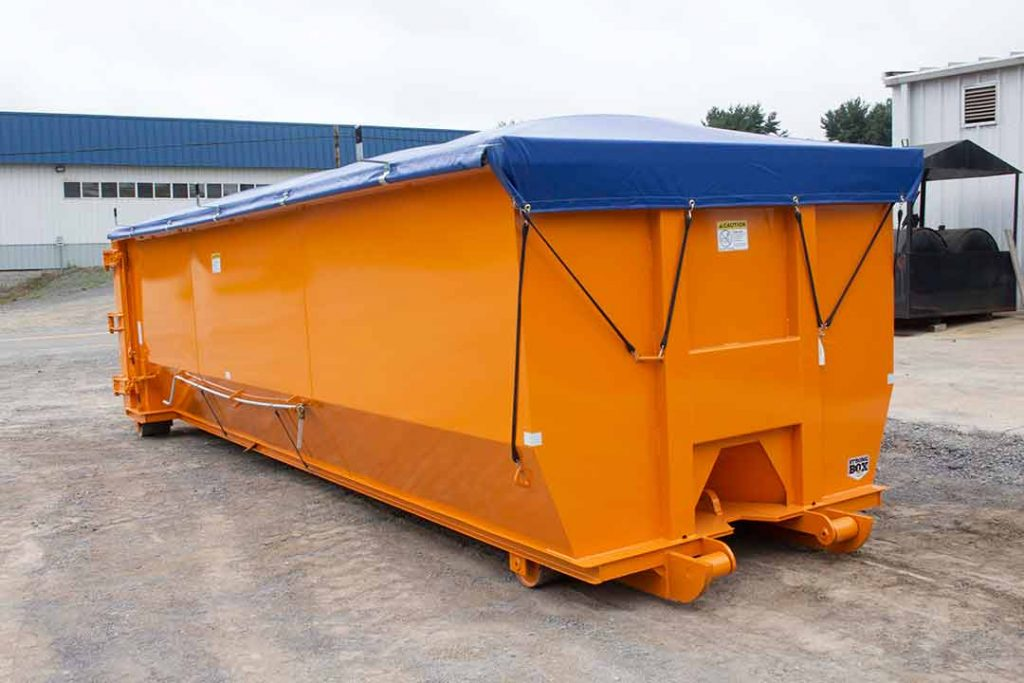 Orange tub style rolloff container with single side swing tailgate, cable hookup, and blue side roll tarp system