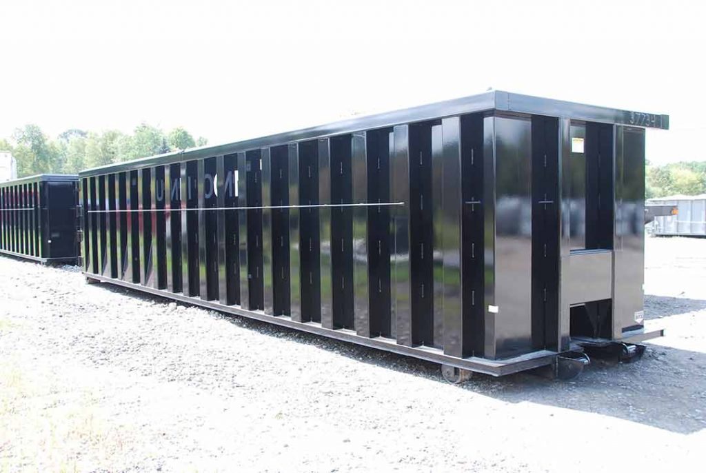 Black Ultra Box rolloff container with heavy duty top rails, tubing side posts, and cable style hookup