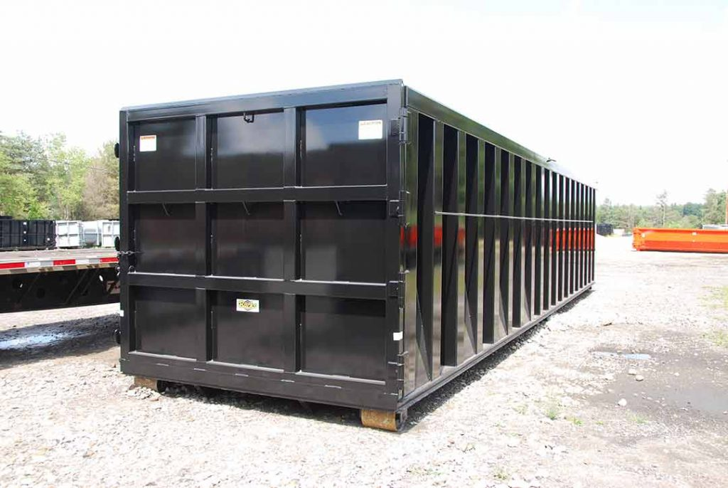 Black Ultra Box rolloff container with a 9 panel tailgate, heavy duty top rails, and side stiffeners