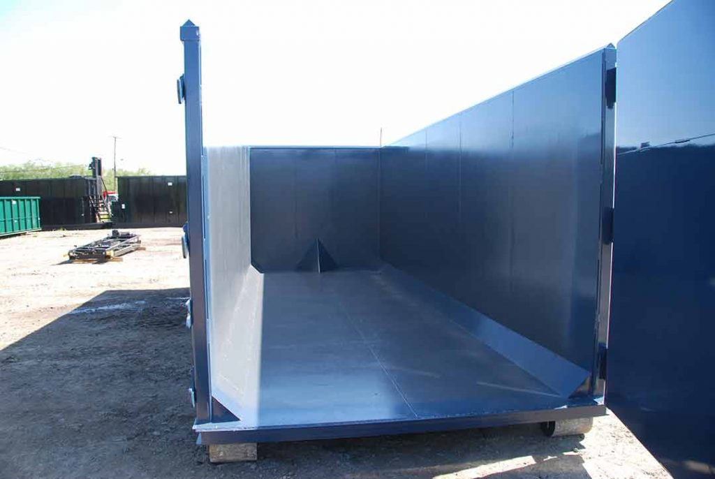 Blue ultra box rolloff container with inverted angles, cable style hookup and interior gussets