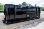Black Ultra Box rolloff container with sign plates and cable style hookup