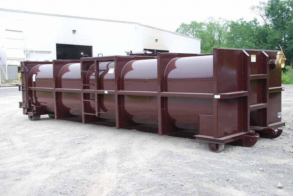Burgundy vauum tank rolloff containers with a brass lever valve for quick and efficient drainage and cable style hookup