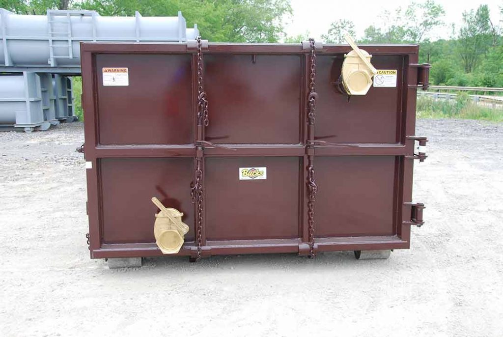 Burgundy vauum tank rolloff containers with two brass lever valves for quick and efficient drainage