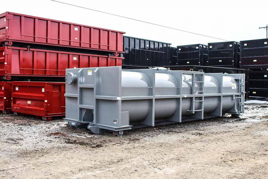Gray vacuum tank rolloff container with blind flange used to seal the pipe when not in use